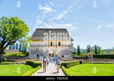 Entrance to the Chateau de Losse, a medieval French Historical House and Site, in Périgord, Dordogne district, South-West France on a sunny day - Stock Photo