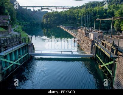 dam on the river adda - Stock Photo