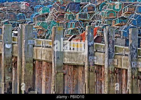 Lobster pots piled high behind the pilings and mooring posts that run along the edge of the quayside in Scarborough Harbour. - Stock Photo