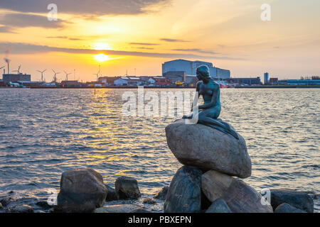 COPENHAGEN, DENMARK - APRIL 12, 2018: Copenhagen sunrise city skyline at Little Mermaid Statue, Copenhagen Denmark - Stock Photo