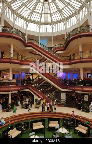 The luxurious interior of Princes Square shopping centre mall in Glasgow, Scotland, UK - Stock Photo