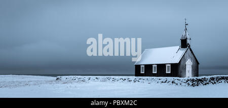 Budir Church, Snaefellsnes Iceland, Europe in winter - Stock Photo
