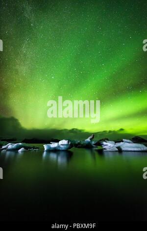Northern lights, Aurora Borealis, Jokulsarlon Lagoon, Iceland, Europe - Stock Photo