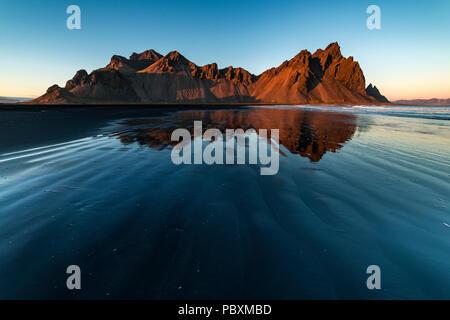 Sunset at Vestrahorn mountain, Stokksnes, Iceland, Europe - Stock Photo