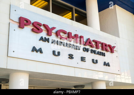 Psychiatry an Industry of Death museum, Hollywood, Los Angeles, LA, California, CA,USA, logo sign - Stock Photo