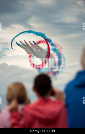 Bray, Co. Wicklow, Ireland. 29th July 2018. The Royal Airforce Red Arrows perform at the Bray Air Show. Credit: Douglas O'Connor - Stock Photo