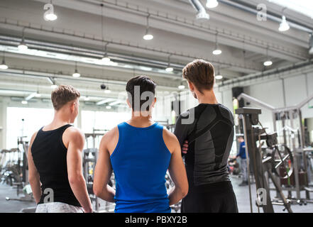 Young friends in modern crossfit gym, standing and talking. Rear view. - Stock Photo