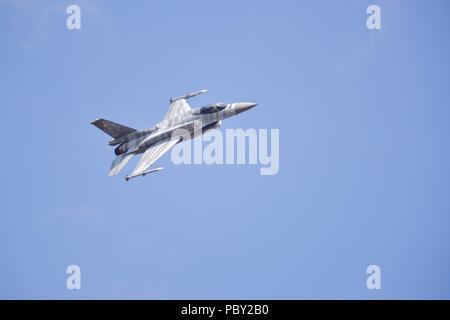 Polish Air Force F-16C Block 52+ Fighting Falcon performing at the 2018 Royal International Air Tattoo - Stock Photo