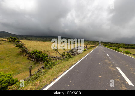 Landscape along  EN3 longitudinal road northeast of Mount Pico, Pico along , Pico island, Azores - Stock Photo