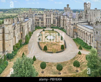 Aerial view of the courtyard of Arundel Castle, Sussex