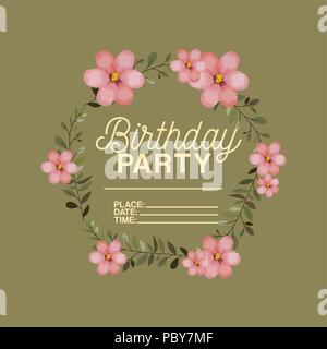 birthday party invitation with floral crown - Stock Photo