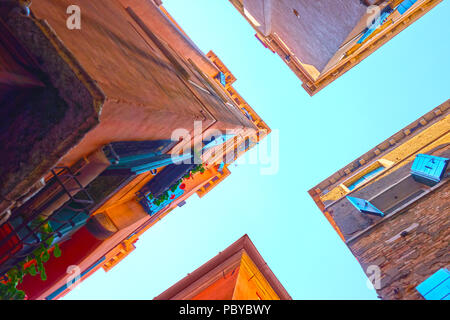 Angle shot of a street crossing in Venice, Italy - Stock Photo