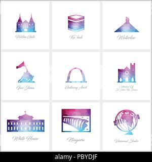 World Fomous landmarks icons set design vector - Stock Photo
