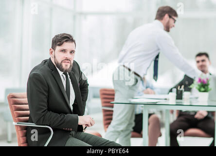 Manager and business team working with financial reports in the  - Stock Photo