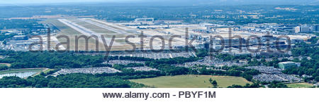 An aerial view of Gatwick Airport and runways, South East England, UK - Stock Photo