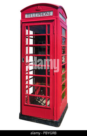 Traditional British red phone box with telephone still in use inside cutout and isolated on a white background. UK Britain - Stock Photo