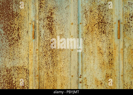 Rusty painted metal shutters full frame background texture - Stock Photo