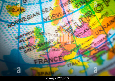 Child's globe showing Europe countries. Concept for Brexit and EU European Union - Stock Photo