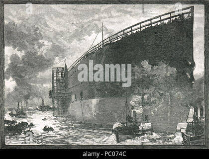 Launch of SS Great Eastern, 31 January 1858 - Stock Photo
