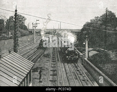 The Flying Dutchman passing Acton station at sixty  miles per hour, on the down route of the Great Western Railway in the 19th Century - Stock Photo