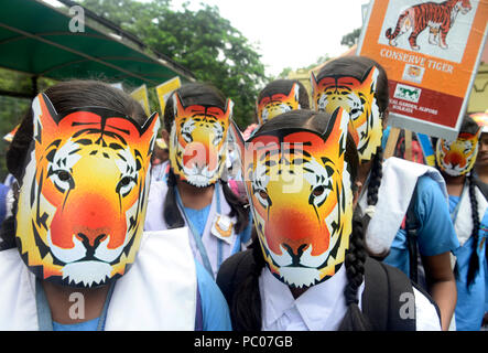 Kolkata, India. 30th July, 2018. School children wear tiger mask and poster to create awareness on tiger conservation during the rally. School children take part in an awareness rally on tiger conservation at Alipore Zoological Garden. Credit: Saikat Paul/Pacific Press/Alamy Live News - Stock Photo