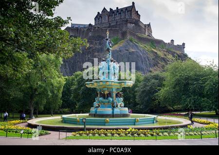 The newly refurbished Ross Fountain in West Princes Street Gardens, Edinburgh, Scotland, UK - Stock Photo