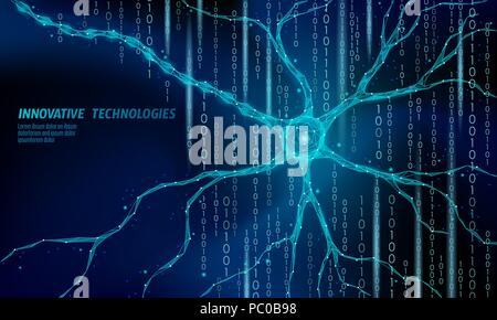 Human neuron low poly anatomy concept. Artificial neural network technology science medicine cloud computing. AI 3D abstract biology system. Polygonal blue glowing vector illustration - Stock Photo