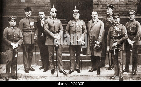 The defendants in the Munich Putsch trial aka Beer Hall Putsch of 1924, a failed coup attempt by the Nazi Party led by Adolf Hitler to seize power in Munich, Bavaria, on 8–9 November 1923.  From left to right: Pernet, Weber, Frick, Kriebel, Ludendorff, Hitler, Bruckner, Röhm, and Wagner.  Adolf Hitler, 1889 – 1945.  German politician, demagogue, Pan German revolutionary and the leader of the Nazi Party.   From These Tremendous Years, published 1938. - Stock Photo