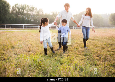 Cheerful young Chinese family walking on grassy field - Stock Photo