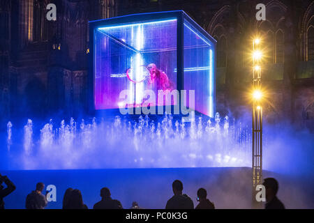 Strasbourg, Mammuthus Volantes,12.000-year-old mammoth skeleton suspended in display case, jet water fountain, night, Alsace, France, Europe, - Stock Photo