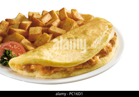 cheese omelette with potatoes - Stock Photo
