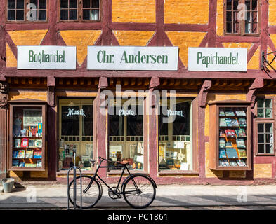 The old bookstore, The Old Town in Aarhus, Denmark - Stock Photo