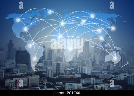 world map with global network and city (communication concept) - Stock Photo