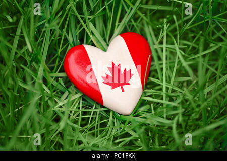 Macro closeup shot of wooden small heart with red white canadian flag maple leaf lying in grass on green forest nature background outside, Canada day  - Stock Photo