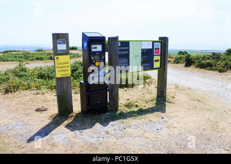 Car park pay and display machine, with information boards, at the Hardy Monument, Portesham, Dorset, UK - John Gollop - Stock Photo