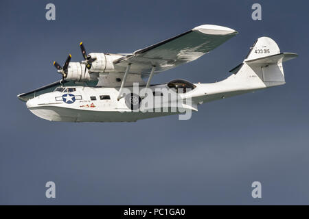 PBY-5A Catalina Flying Boat G-PBYA, a former submarine hunter during WW2 for the Royal Canadian Air Force. - Stock Photo