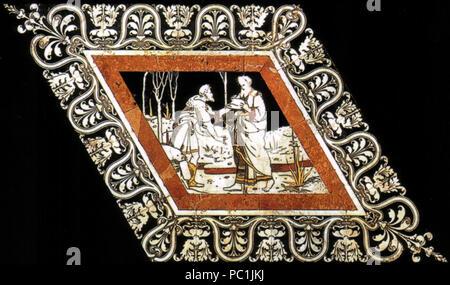 472 Pavimento di siena, esagono, abdia reca ad acab il messaggio di elia (beccafumi) Stock Photo