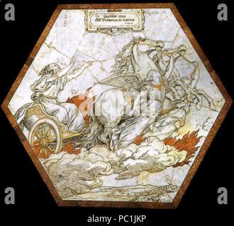 472 Pavimento di siena, esagono, elia rapito in cielo col carro di fuoco (franchi) Stock Photo