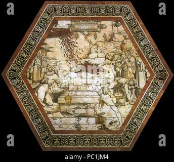 472 Pavimento di siena, esagono, sacrificio di elia (beccafumi) Stock Photo