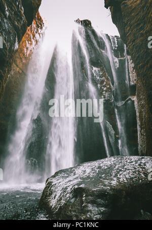 Perfect view of famous powerful Gljufrabui cascade. Location Seljalandsfoss fall, Iceland, Europe. Scenic image of popular tourist attraction. Travel destination concept. Discover the beauty of earth.