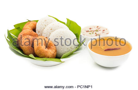 idli, sambar,vada and coconut chutney, south indian breakfast - Stock Photo