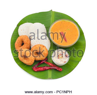 idli, sambar,vada and coconut chutney, south indian breakfast - Stock Photo