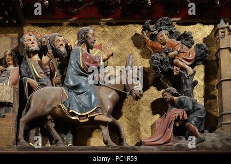 Jesus' triumphal entry into Jerusalem, Palm Sunday, UNESCO World Heritage Site in Paris, France - Stock Photo