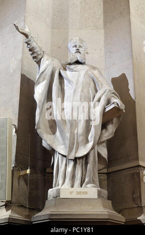 Statue of Saint Denis in the St Francis Xavier's Church in Paris, France - Stock Photo