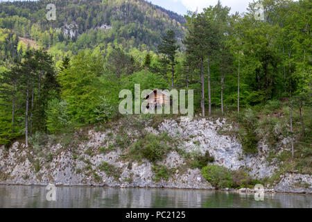 Cabin in the lake Wolfgangsee, Austria - Stock Photo