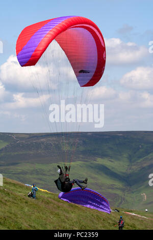 Paragliders over Mam Tor Derwent Valley - Stock Photo