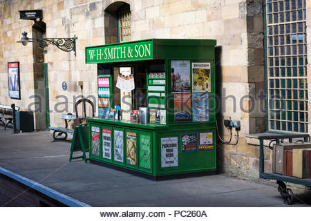 W H Smith and Son Kiosk on Pickering Station on the North Yorkshire Moors Railway - Stock Photo