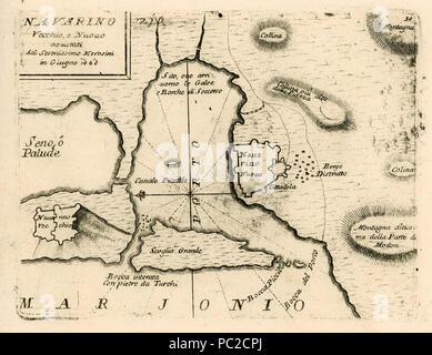439 Navarino Vecchio, e Nuovo aquistati dal Serenissimo Morosini in Giugno 1680 - Coronelli Vincenzo - 1688 - Stock Photo