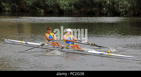 WRC, J14 Doubles, at Warrington Rowing Club 2018 Summer regatta, Howley lane, Mersey River, Cheshire, North West England, UK - Stock Photo