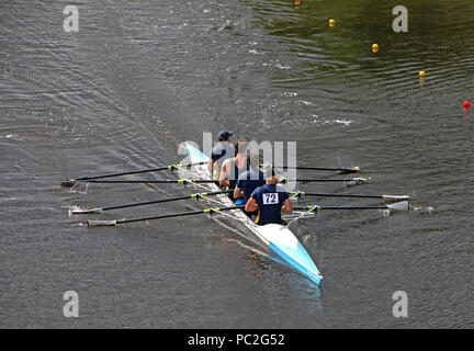 Lancaster Rowing Club team, Men coxless at Warrington Rowing Club 2018 Summer regatta, Howley lane, Mersey River, Cheshire, North West England, UK - Stock Photo